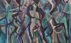 """Dancing"" 1992 oil on canvas 100 x 130 cm"