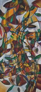 """""""Autumn Wind Fall"""" 1992 oil on canvas 90 x 60 cm"""