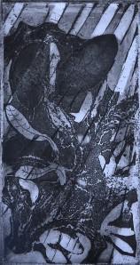 """Rain"" 1991 etching 18 x 12 cm"