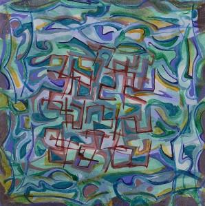 """Big Wet"" 1991 acrylic on paper 20 x 20 cm"