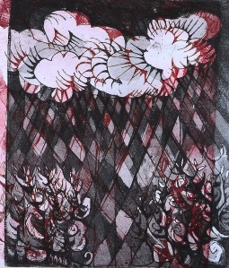 """'Rain Garden"""" 1991 etching 30 x 20 cm"""