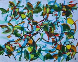 """Life In The Garden"" 1991 acrylic on canvas 100 x 120 cm"