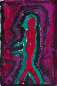 "'Inhibition"" 1992 pastel and oil on paper 20 x 15 cm"