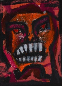 """Anger"" 1992 oil pastel on paper 20 x 15 cm"