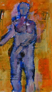 """Out of Place"" 1992 oil on paper 40 x 25cm"