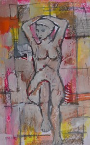 "'Getting Ready"" 1992 pastel and oil on paper 40 x 30 cm"