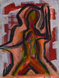 """The Private Body No.1"" 1992 oil pastel and ink on paper 20 x 15 cm"