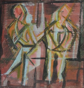 """Waiting For The Train"" 1992 pastel and ink on paper 30 x 30 cm"