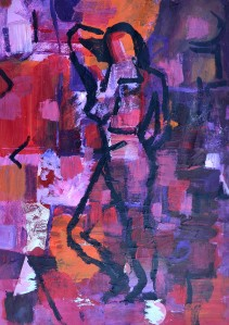 """Conversation"" 1992 oil on paper 40 x 30 cm"