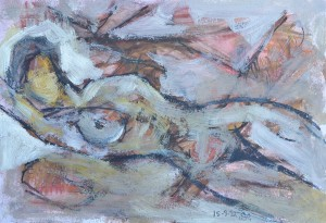 """Reclining Nude"" 1992 pastel, ink and oil on paper 15 x 25 cm"