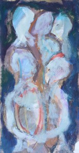 """Figure Group"" 1992 pastel and oil on paper 40 x 20 cm"