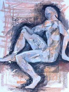 """Poser"" 1992 Mixed media on paper 40 x 30 cm"