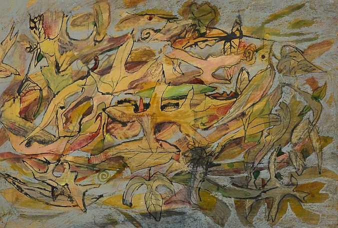 """""""Leaves on the Pavement"""" 1993 pastel and ink on paper 30 x 40 cm"""