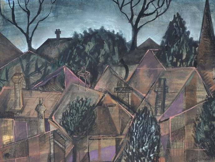 """""""The Suburbs"""" 1993 pastel and ink on paper 30 x 40 cm"""