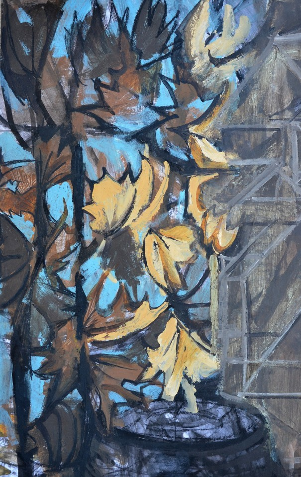 """""""Last Leaves To Fall 1"""" 1993 acrylic on paper 80 x 50 cm"""