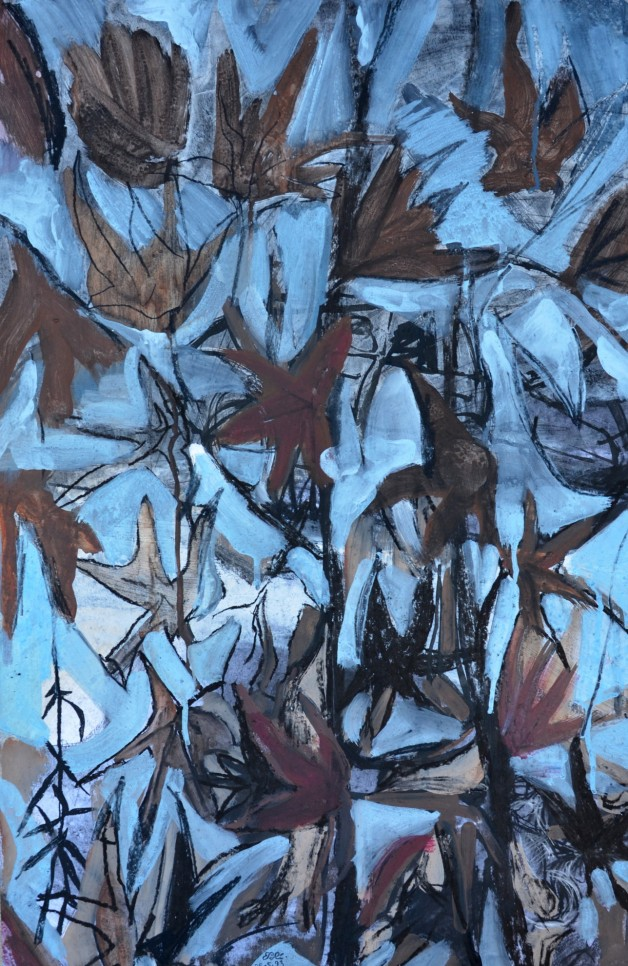 """LAst Leaves to Fall 2"" 1993 acrylic on paper 80 x 50 cm"