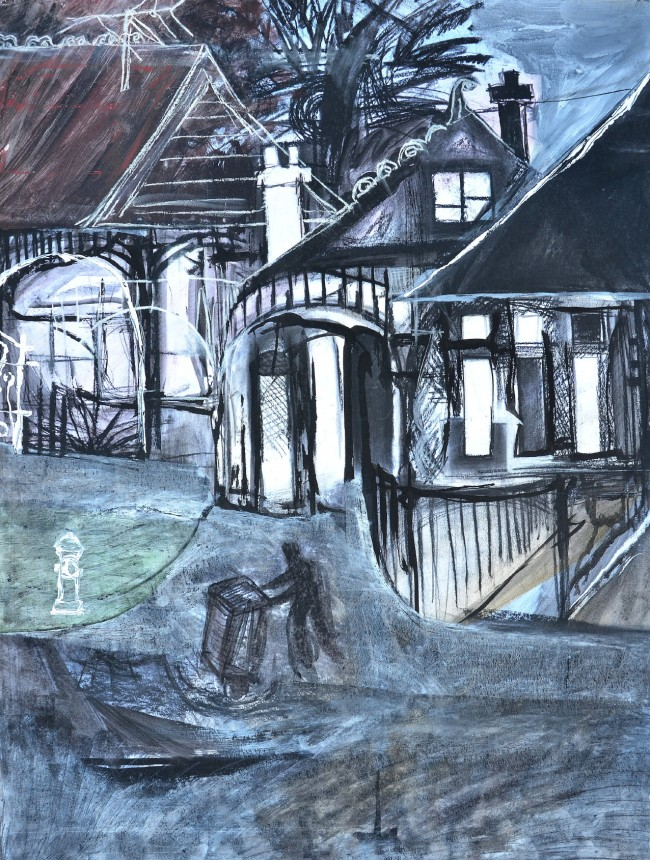 """""""Rubbish Bin Night"""" 1993 pastel and ink on paper 60 x 50 cm"""