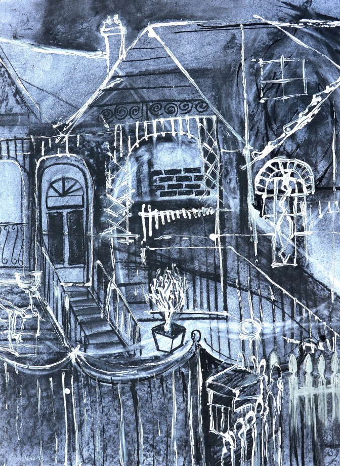 """""""Front of House"""" 1993 charcoal and acrylic on paper 60 x 50 cm"""