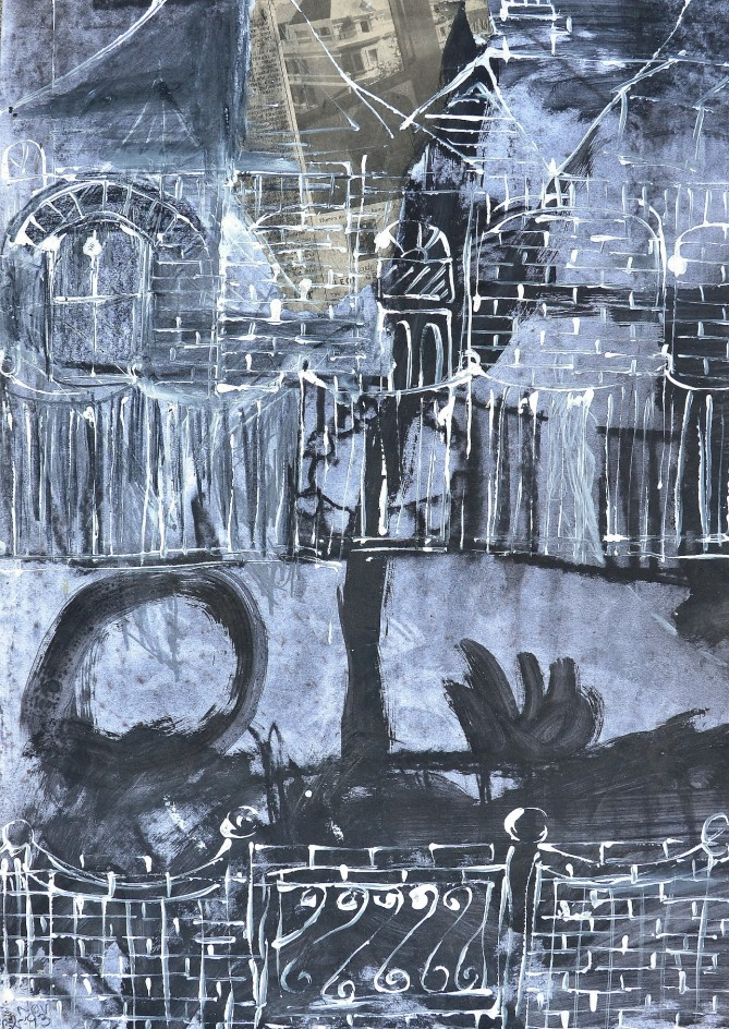 """""""Across The Street"""" 1993 charcoal and acrylic on paper 60 x 50 cm"""