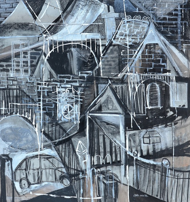 """""""Built Up Area"""" 1993 charcoal & acrylic on paper 80 x 80 cm"""