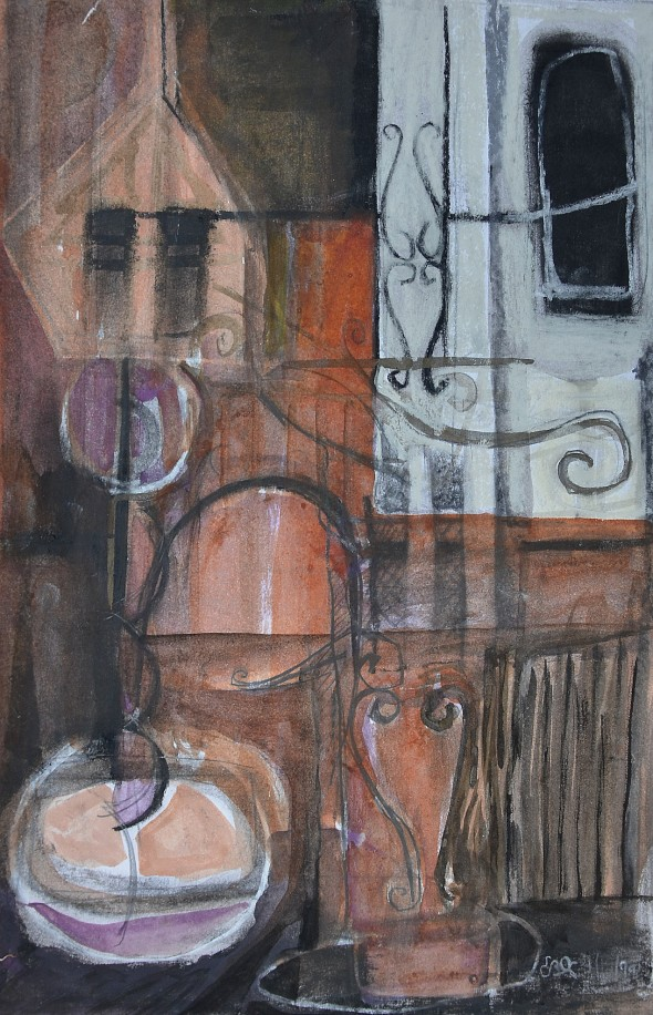 """""""Street Essence"""" 1994 pastel and ink on paper 30 x 20 cm"""
