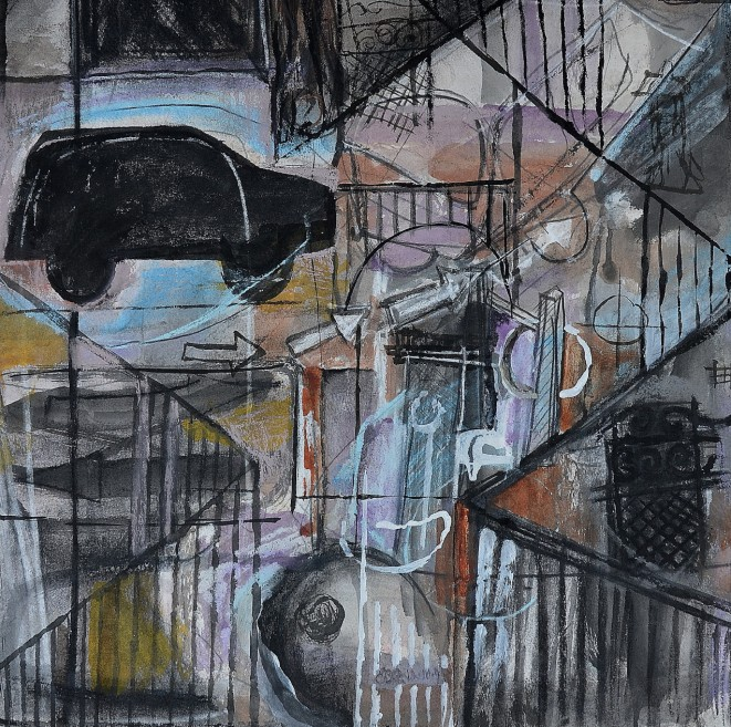 """Street Essence"" 1994 mixed media on paper 40 x 40 cm"
