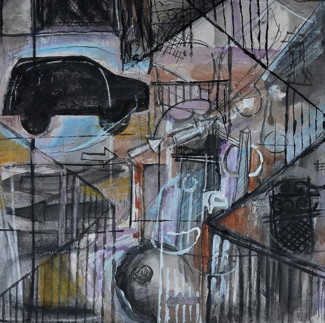 """Street Essence"" 1994 mixed media on paper 40 x 40 cm"