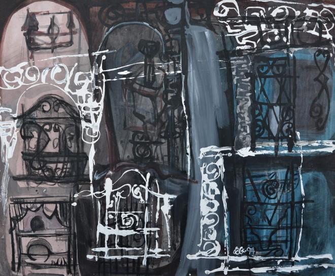 """""""Secret Places"""" 1994 acrylic on paper 50 x 60 cm"""