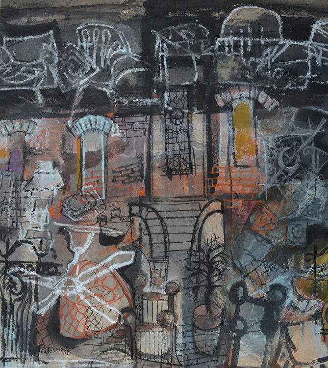 """""""Street Places"""" 1994 pastel and ink on paper 60 x 40 cm"""