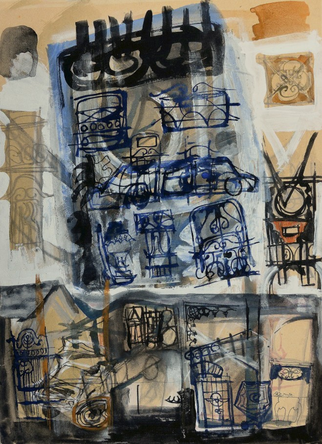 """""""Street Places in a Suburban Mind"""" 1994 mixed media on paper 80 x 60 cm"""