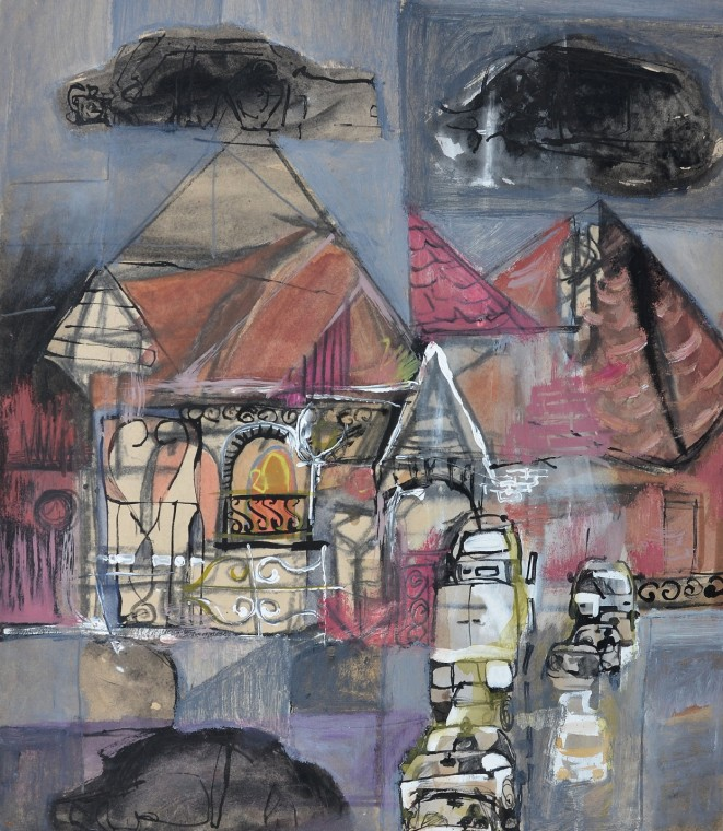 """""""Dream Street"""" 1994 acrylic and pastel on paper 60 x 50 cm"""