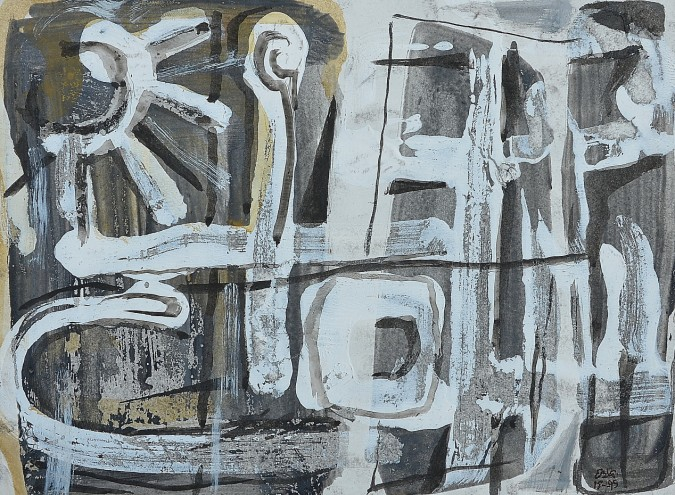 """Street Theme"" 1995 acrylic on paper 15 x 20 cm"