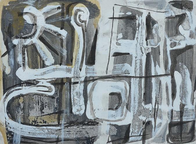 """Street Theme"" 1995 acrylic on paper 15 x 20 cm"