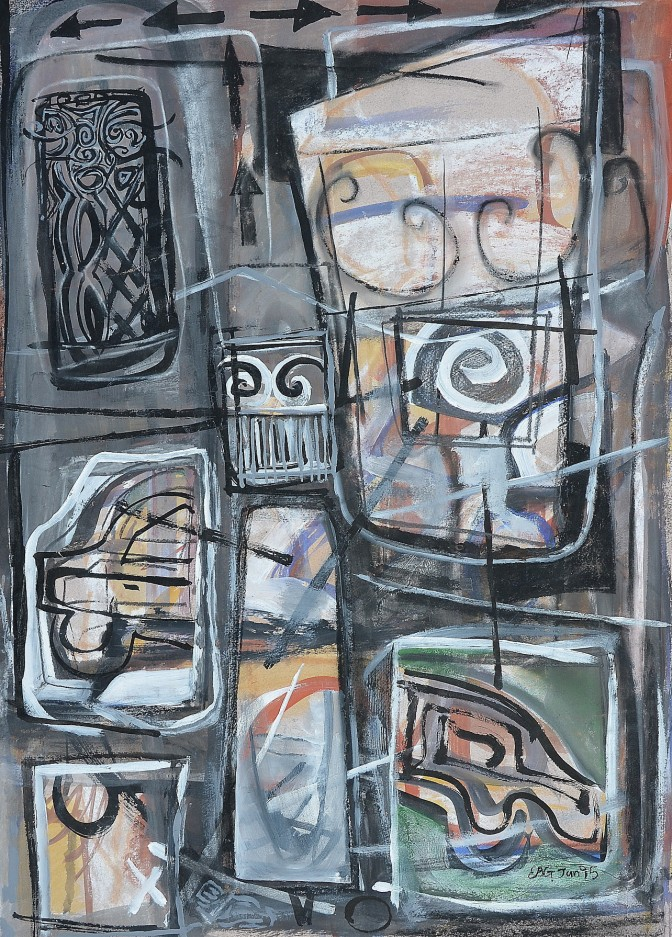 """""""Built Up Area"""" 1995 mixed media on paper 70 x 45 cm"""