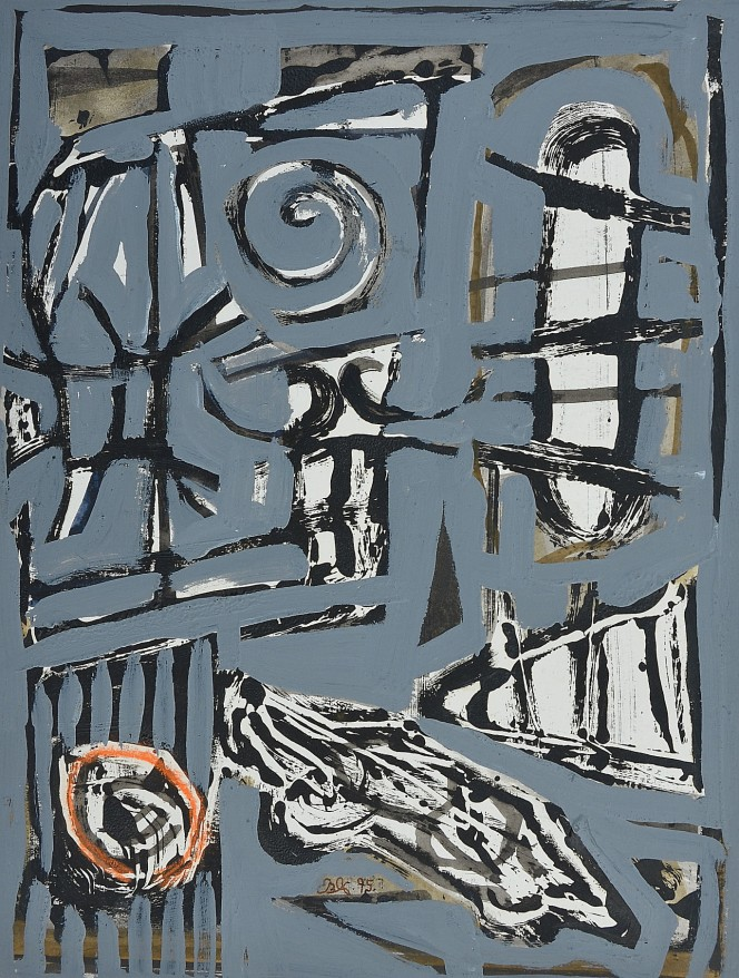"""""""Front Of House"""" 1995 mixed media on paper 20 x 15 cm"""