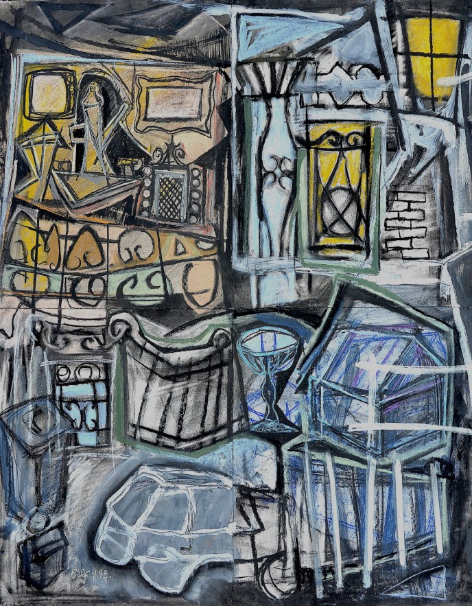"""""""Neighbourhood Watch"""" 1995 pastel and ink on paper 90 x 70 cm"""