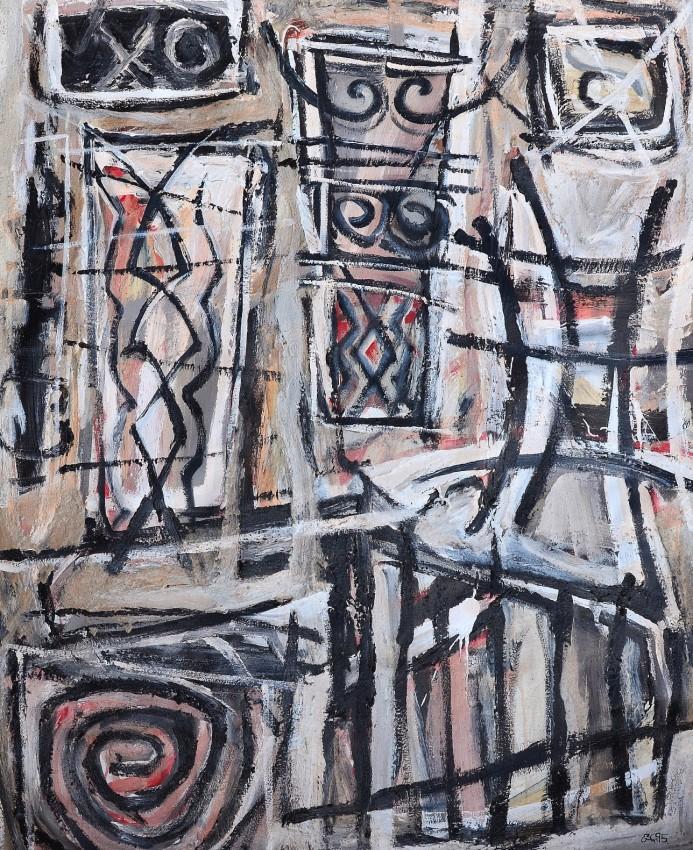 """Front Yard Diplomacy"" 1995 acrylic on canvas 120 x 90 cm"