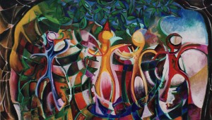 """Garden Party"" 1992 oil on canvas 100 x 140 cm"