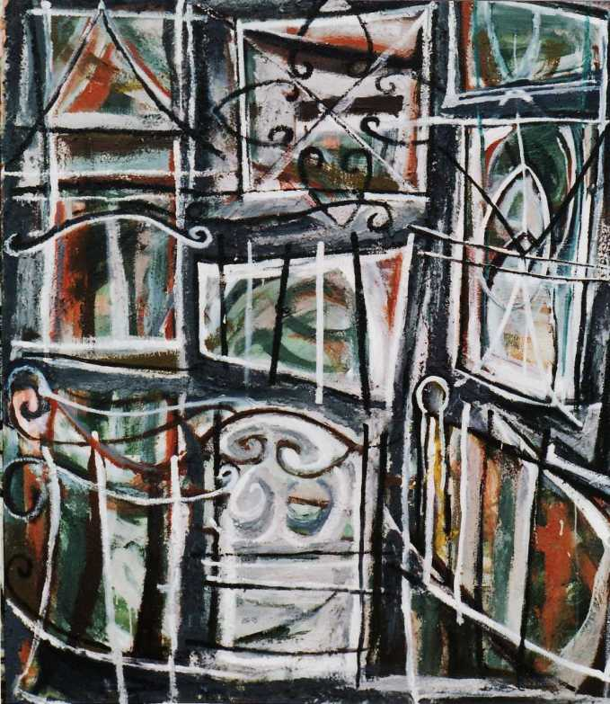 """Safety House Zone"" 1995 acrylic on canvas 190 x 165 cm"