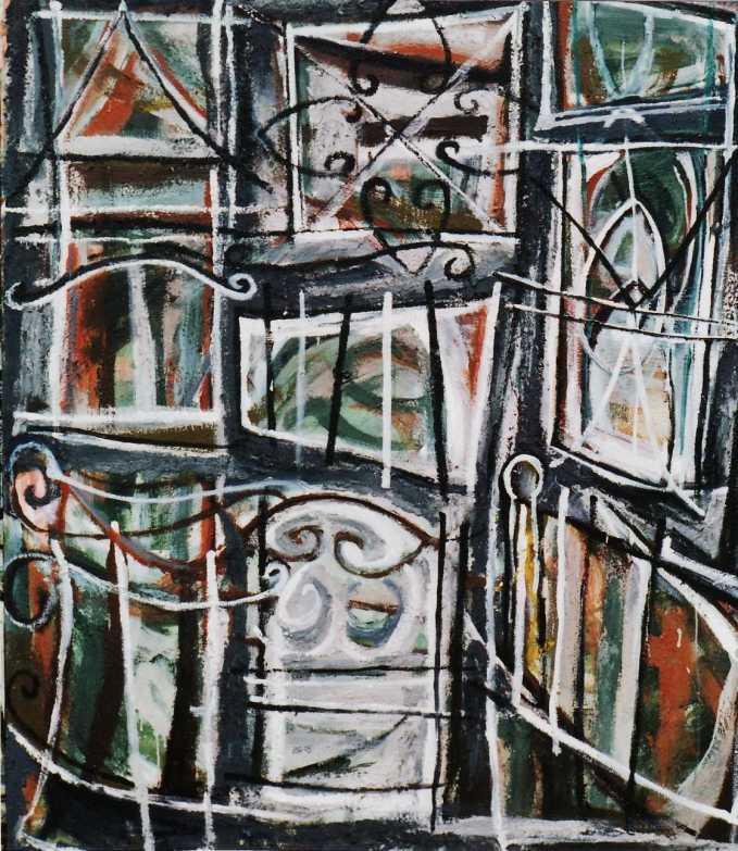 """Safety House Zone"" 1995 acrylic on canvas 190 x 165 cm"