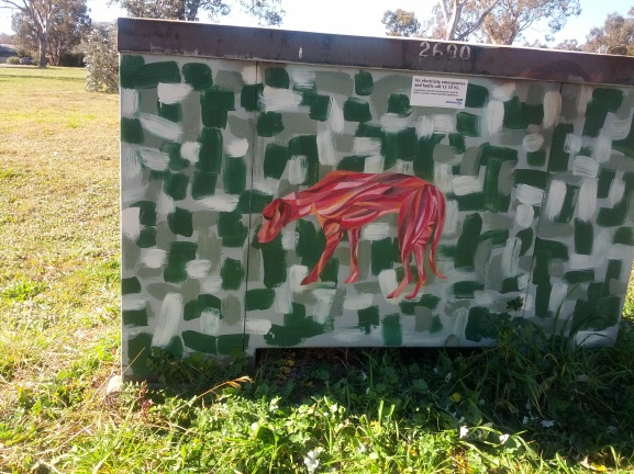 I painted the dog the night before last. Paste-up in a close to home park in Higgins.