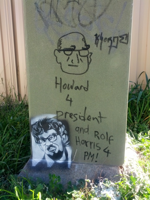 I couldn't resist adding to this pro Howard graffiti