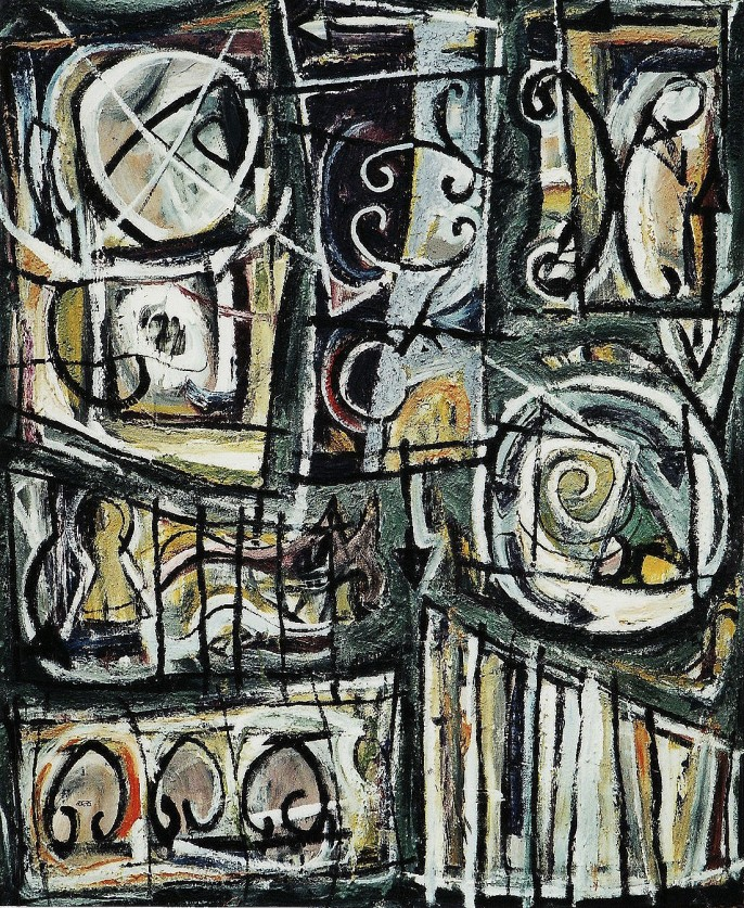 """""""Merry-Go-Round-About"""" 1995 acrylic on canvas 175 x 150 cm"""