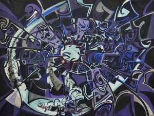 """Midnight Bloom"" 1990 acrylic on canvas 90 x 110 cm"