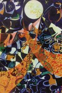 """Moonlight Banter"" 1991 acrylic on canvas 160 x 120 cm"