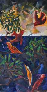 """Morning Birds"" 1992 oil on canvas 90 x 60 cm"
