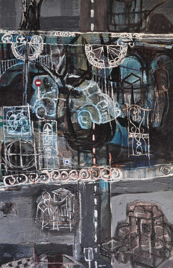 """""""Neat Time Road Grey Troubles"""" 1994 acrylic on canvas 130 x 100 cm"""