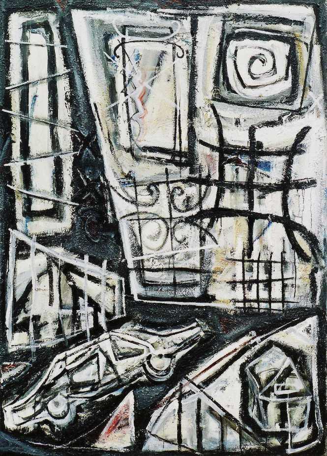 """""""New House, New Car, Old Money"""" 1995 acrylic on canvas 170 x 140 cm"""