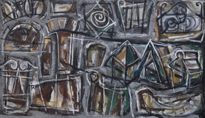 """""""No Junk Mail"""" 1995 acrylic on canvas 100 x 170 cm"""