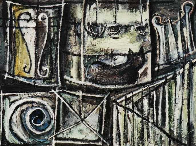"""No Through Road"" 1995 acrylic on canvas 90 x 110 cm"